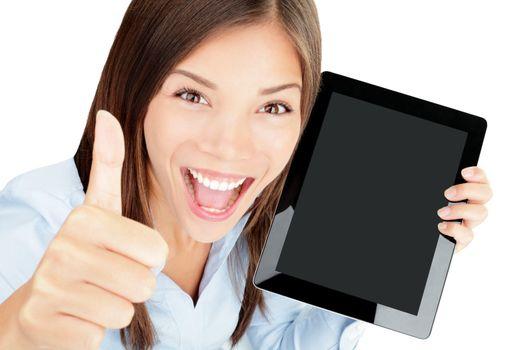 Tablet computer woman happy