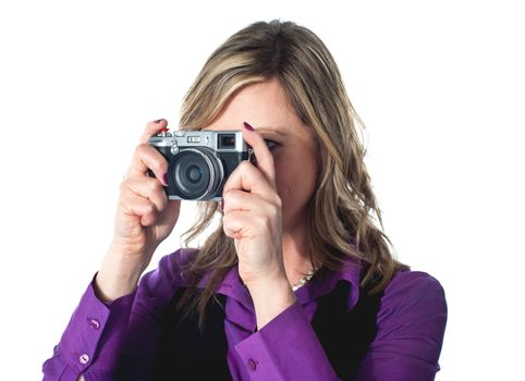 Beautiful lady taking pictures