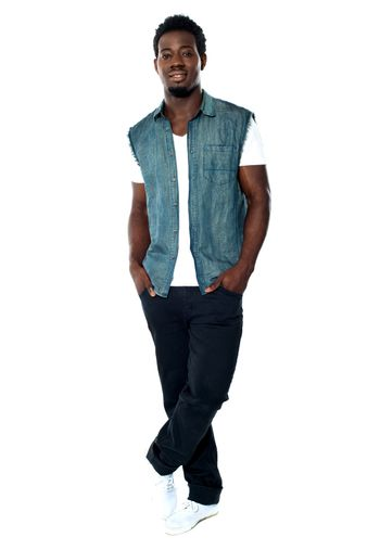 Full body pose of young african male model