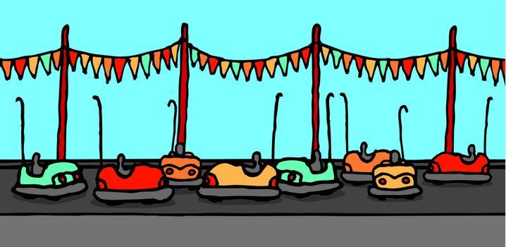 Bumper cars in carnival