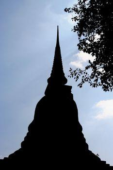 Silhouette pagoda in Sukhothai Historical Park, Thailand
