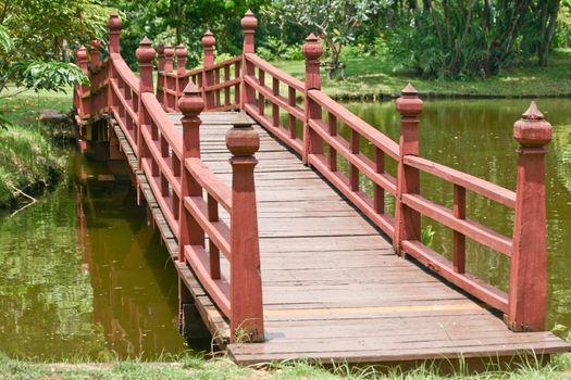 Wooden bridge over a lake