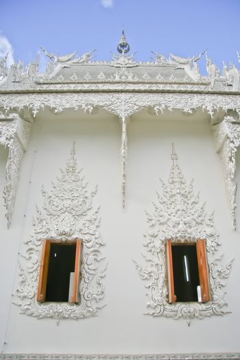 Window at Rong Khun temple in Thailand