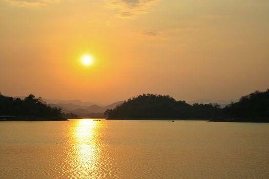 Sunset over the Kaeng Krachan Dam, Thailand