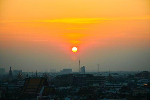 Sunset over a city of Bangkok