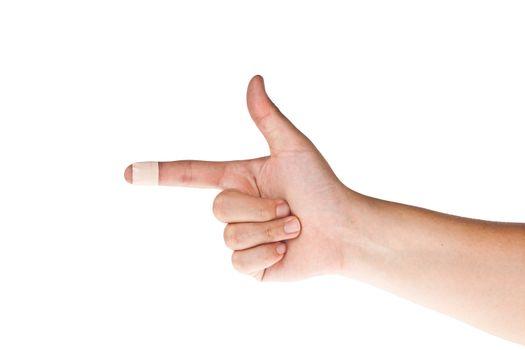 Finger with bandage point left