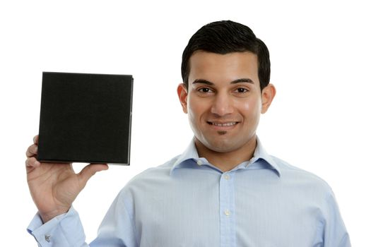 Salesman holding a product, book or other merchandise