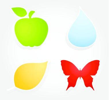 Natural icons for design. A vector illustration