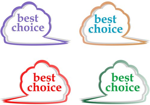 speech bubbles set with best choice message vector illustration