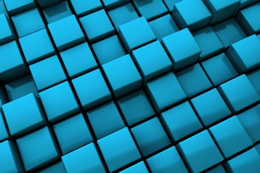 Abstract Blue Cubes Background - Close Up
