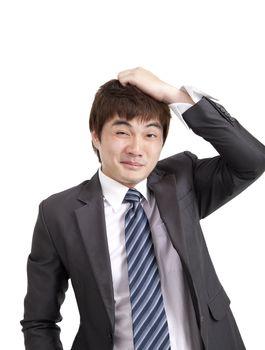 Embarrassment asian businessman