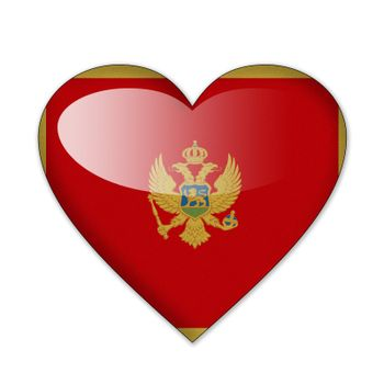 Montenegro flag in heart shape isolated on white background