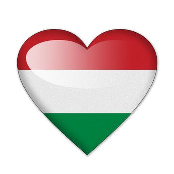 Hungary flag in heart shape isolated on white background