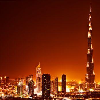 Dubai downtown on sunset