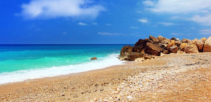 Paradise beach beautiful panoramic sea view, with clean water & blue sky, summer vacation concept