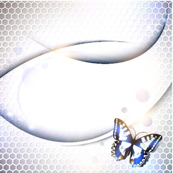 tech or industrial abstract grid background with butterfly, copyspace for your text