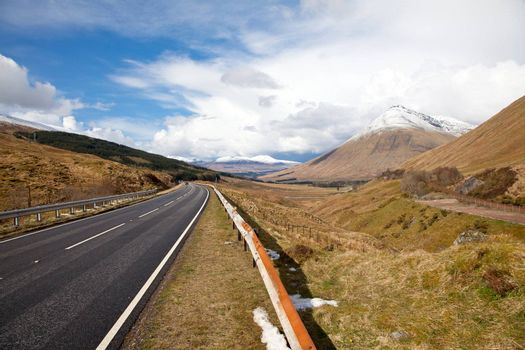 Countryside Road Highway of Highlands Scotland with Beautiful Snow Mountain Range