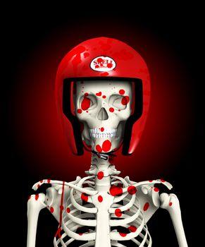 Bloody Skeleton In Protective Helmet