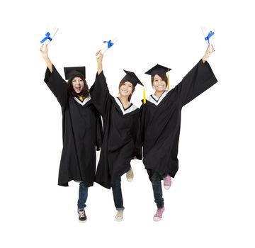 three happy asian graduation student isolated on white