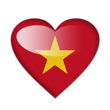 Vietnam flag in heart shape isolated on white background