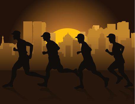 Jog on a city