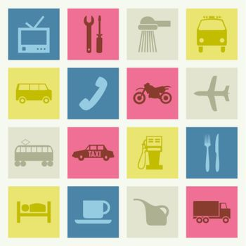 Set of icons on a theme transport. A vector illustration