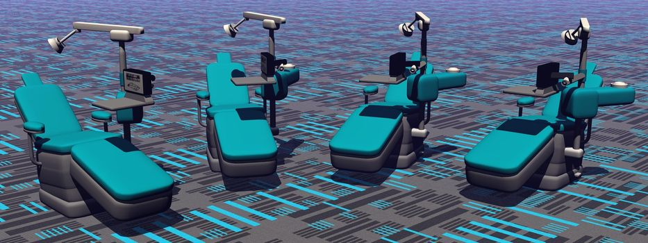 Modern dental chairs in colorful background