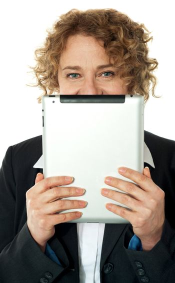 Business lady with tablet pc