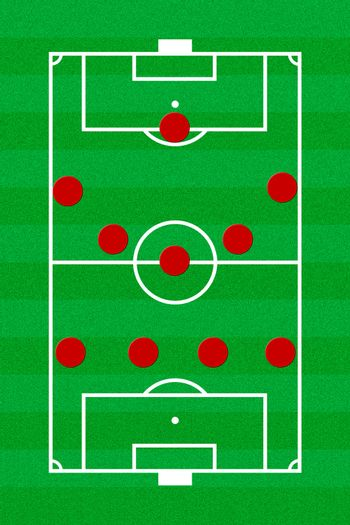 Soccer field layout with formation 4-5-1
