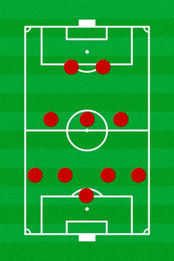 Soccer field layout with formation 5-3-2