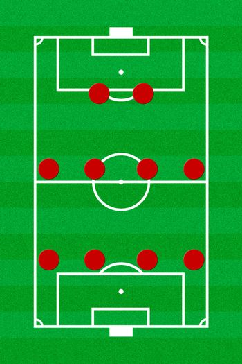 Soccer field layout with formation 4-4-2