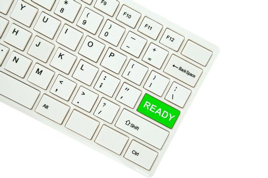 Wording Ready on computer keyboard isolated on white background