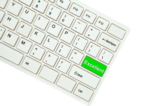 Wording Excellent on computer keyboard isolated on white backgro