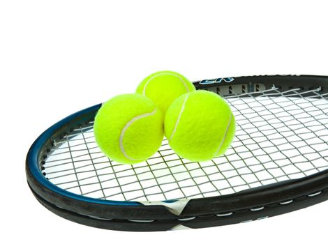 Three tennis ball with used racket