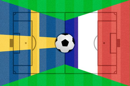 Sweden and France flag on Soccer field layout