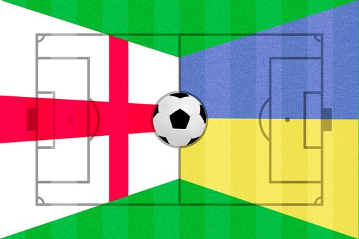 England and Ukraine flag on Soccer field layout