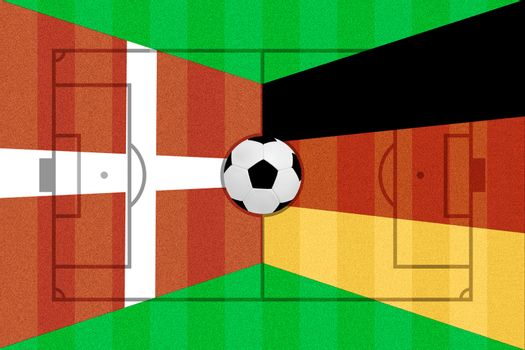 Denmark and Germany flag on Soccer field layout