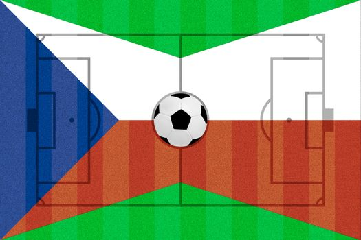 Czech Republic and Poland flag on Soccer field layout