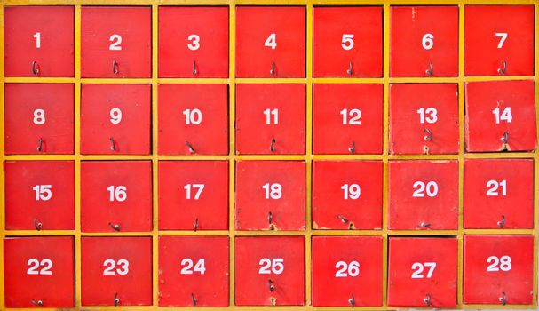 Red cabinet with number