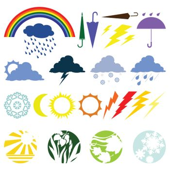 The various weather phenomena. A vector illustration