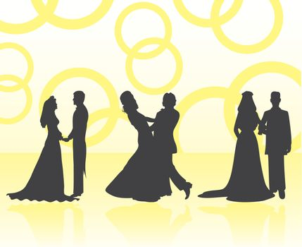 Silhouettes of wedding pairs. A vector illustration