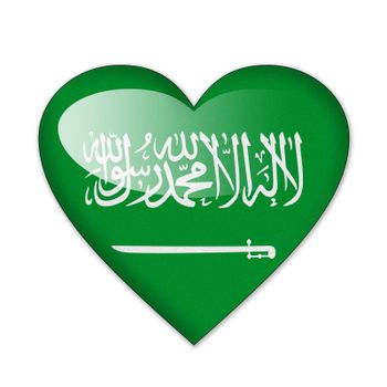 Saudi Arabia flag in heart shape isolated on white background