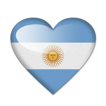 Argentina flag in heart shape isolated on white background