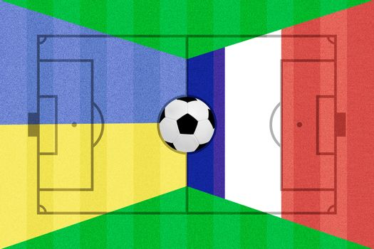 Ukraine and France flag on Soccer field layout