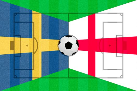 Sweden and England flag on Soccer field layout