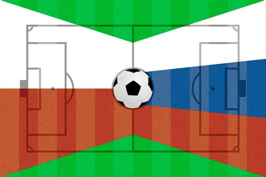 Poland and Russia flag on Soccer field layout