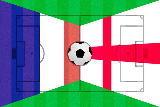 France and England flag on Soccer field layout
