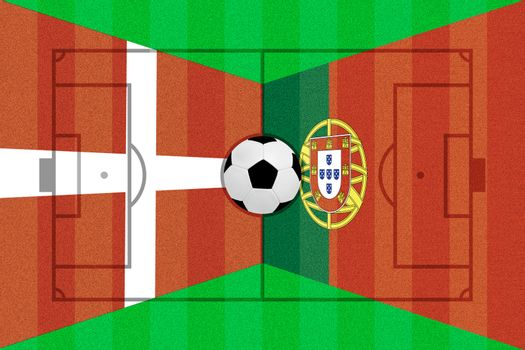 Denmark and Portugal flag on Soccer field layout