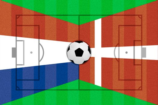 Netherlands and Denmark flag on Soccer field layout