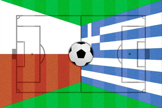 Poland and Greece flag on Soccer field layout